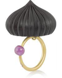 Alice Cicolini - Black Temple Uzbek 18karat Gold Ebony Diamond and Ruby Ring - Lyst