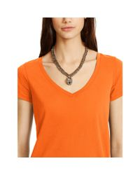 Polo Ralph Lauren - Orange Cotton Jersey V-neck Tee - Lyst
