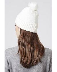 TOPSHOP - Natural Fluffy Beanie Hat - Lyst