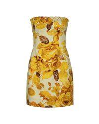 Dolce & Gabbana - Yellow Short Dress - Lyst