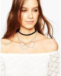 ALDO | Black Cherifa Choker Multirow Chain Necklace | Lyst