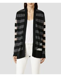 AllSaints - Black Band Cardigan - Lyst