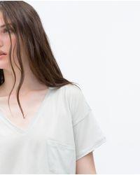 Zara | Gray T-shirt With Pocket | Lyst