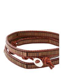 Colana | Brown Leather Wrap Bracelet W/ Copper Hematite | Lyst