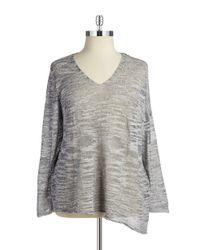 NIC+ZOE | Blue Knit V-neck Sweater | Lyst