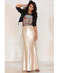 Nasty Gal - Metallic Sea Of Gold Sequin Maxi Skirt - Lyst