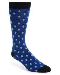 Ted Baker - Blue Organic 'diamond Geo' Pattern Socks for Men - Lyst