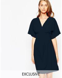 Closet | Blue Closet Obi Wrap Belt Dress With Kimono Sleeve | Lyst