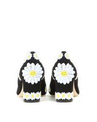 Dolce & Gabbana - Black Embroidered Floral Pumps - Lyst