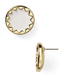 House of Harlow 1960 | Metallic 1960 Sunburst Leather Button Earrings | Lyst