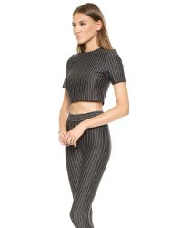 Torn By Ronny Kobo | Gray Dugan Pinstripe Crop Top - Heather Charcoal Stripe | Lyst