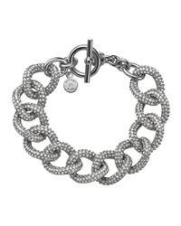 Michael Kors | Metallic Silvertone Pave Curb-link Bracelet | Lyst