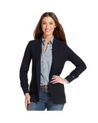 Tommy Hilfiger - Blue Longsleeve Textured Openfront Cardigan - Lyst