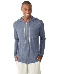 Alternative Apparel - Blue Eco-mock Twist Zip Hoodie for Men - Lyst