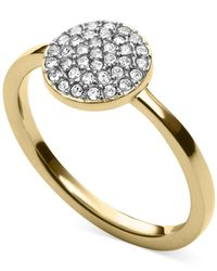 Michael Kors | Metallic Gold-Tone Crystal Pavé Disc Ring | Lyst