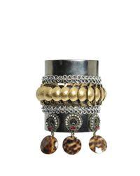 Erickson Beamon - Metallic Rigid Bracelet With Rhinestones And Shells - Lyst