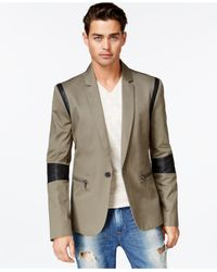 Guess | Blue Electric Sateen Taped Blazer for Men | Lyst