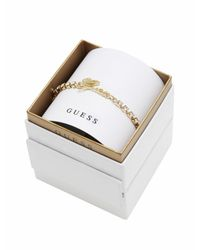 Guess | Metallic My In A Box Logo Stones Yellow Gold-plated Bracelet | Lyst