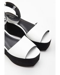 Forever 21 | White Faux Leather Flatform Sandals | Lyst