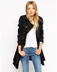 ASOS - Black Mac With Biker Detail In Skater Fit - Lyst