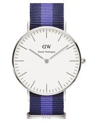 Daniel Wellington | Blue 'classic Swansea' Round Nato Strap Watch | Lyst