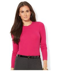 Lauren by Ralph Lauren - Pink Long-Sleeve Crew-Neck Top - Lyst