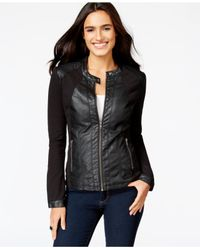 Style & Co. | Black Faux-leather Moto Jacket | Lyst