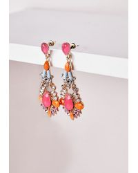 Missguided | Statement Gem Drop Earrings Neon Pink | Lyst