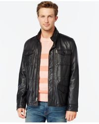Tommy Hilfiger | Black Leather Four-pocket Field Jacket for Men | Lyst