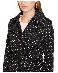 Lauren by Ralph Lauren - Black Petite Polka-Dot Double-Breasted Trench Coat - Lyst