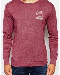 G-Star RAW | Purple Crew Sweatshirt Yukemm Logo Slub Rib for Men | Lyst