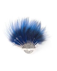 Fendi | Blue Fox Tail Brooch | Lyst