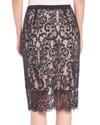 Elie Tahari - Black Violet Lace Pencil Skirt - Lyst