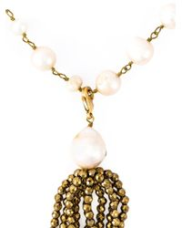 Rosantica - Metallic Faux Pearl Tassel Necklace - Lyst