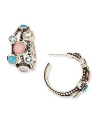 Stephen Dweck - Blue Nouveau Beaded Multistone Triplerow Hoop Earrings - Lyst
