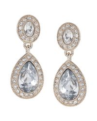 Carolee | Gray The Catherine Crystal Drop Pierced Earrings | Lyst