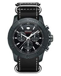 Movado - Black 'series 800' Chronograph Leather Strap Watch for Men - Lyst