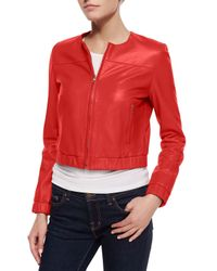 Bagatelle - Red Cropped Leather Bomber Jacket - Lyst