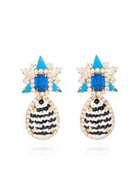 Shourouk | Galaxy Sequin Earrings in Black and Blue | Lyst