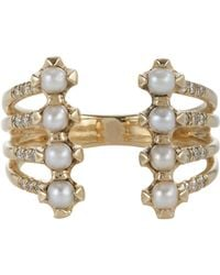Jennie Kwon | Metallic Pave Diamond, Pearl & Gold Cuff Ring | Lyst