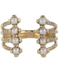 Jennie Kwon | Metallic Pavé Diamond, Pearl & Gold Cuff Ring Size 7 | Lyst