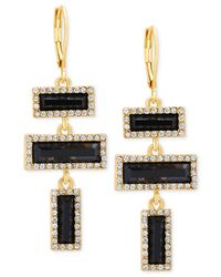 T Tahari | Metallic Rectangle Stone And Clear Crystal Euro Drop Earrings | Lyst