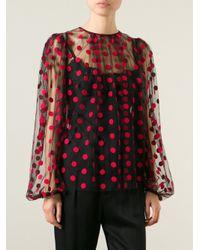 Dolce & Gabbana - Black Polka Dot Tulle Blouse - Lyst