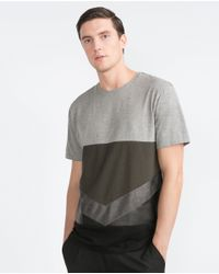Zara | Black Mixed Fabric T-shirt for Men | Lyst