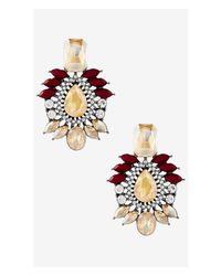 Express - Multicolor Mixed Rhinestone Post Drop Earrings - Lyst