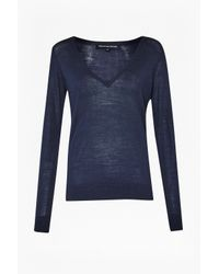 French Connection | Blue Jupiter Knits V Neck Jumper | Lyst