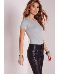 Missguided - Gray Roll Sleeve Basic Bodysuit Grey - Lyst