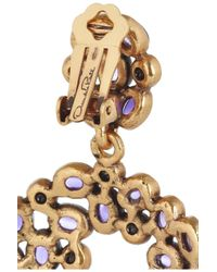 Oscar de la Renta - Purple Gold-Plated Swarovski Crystal Clip Earrings - Lyst