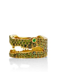 Marc Alary | Metallic 18k Yellow Gold and Green Diamond Crocodile Ring | Lyst