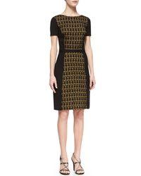 Halston | Black Ponte Lace-front Dress | Lyst